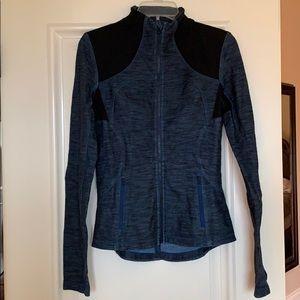 Lululemon zip up long sleeve jacket 8 blue black